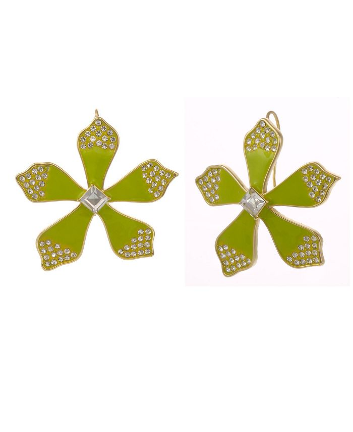 Christian Siriano New York - Gold Tone and Green Enamel Flower Button Earrings