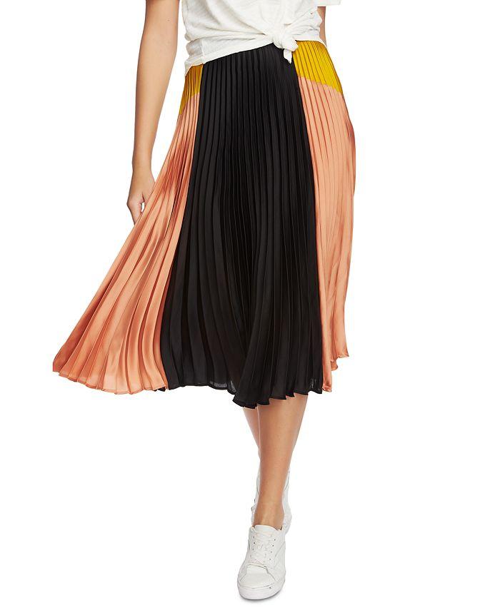 1.STATE - Colorblocked Pleated Midi Skirt