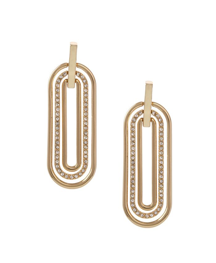 Christian Siriano New York - Gold Tone Elongated Oval Linear Earrings with Crystal Stones