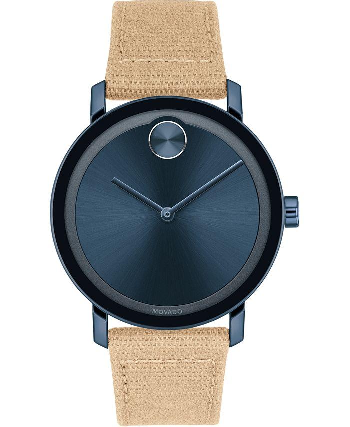 Movado - Men's Swiss Bold Tan Waxed Canvas Strap Watch 40mm