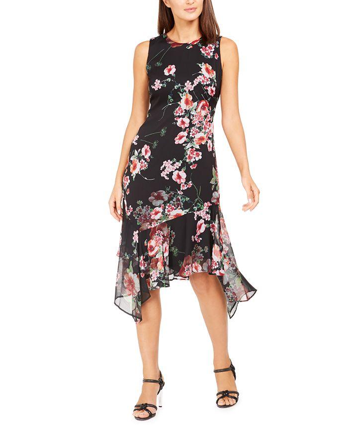 Calvin Klein - Printed Chiffon Midi Dress