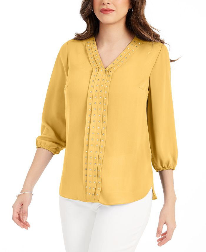 JM Collection - Solid Studded Pleated Blouse