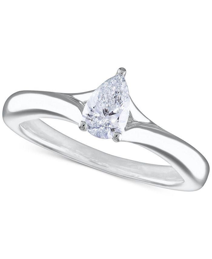 Macy's - Certified Diamond Pear Solitaire Engagement Ring (1/2 ct. t.w.) in 14k White Gold