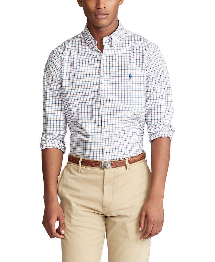 Polo Ralph Lauren Men's Slim-Fit Checked Poplin Shirt & Reviews ...