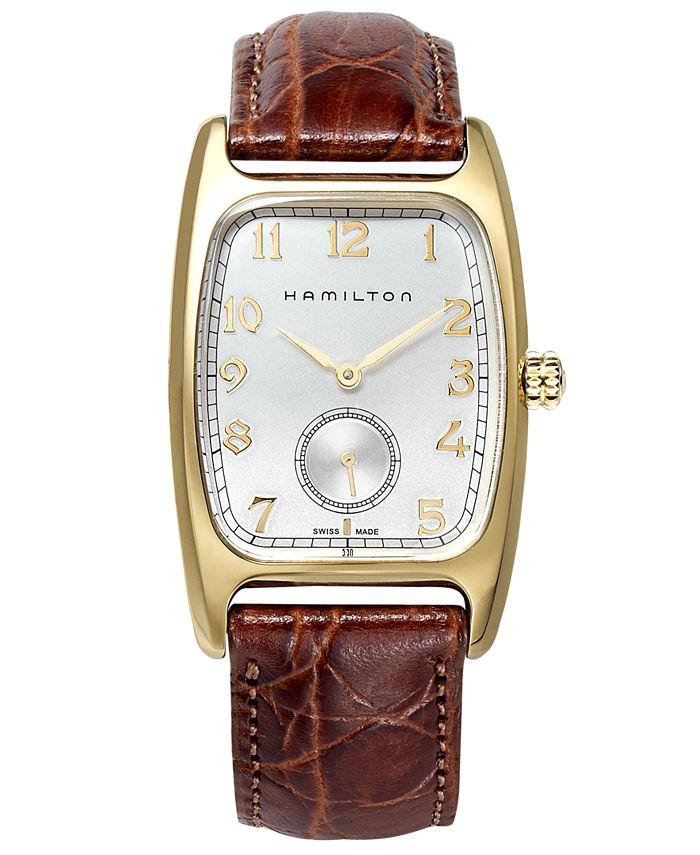 Hamilton - Watch, Men's Swiss Boulton Brown Leather Strap 27mm H13431553