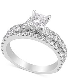 Diamond Princess Engagement Ring (2 ct. t.w) in 14k White Gold