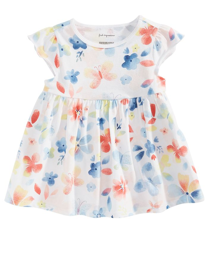 First Impressions - Baby Girls Butterfly-Print Cotton Tunic