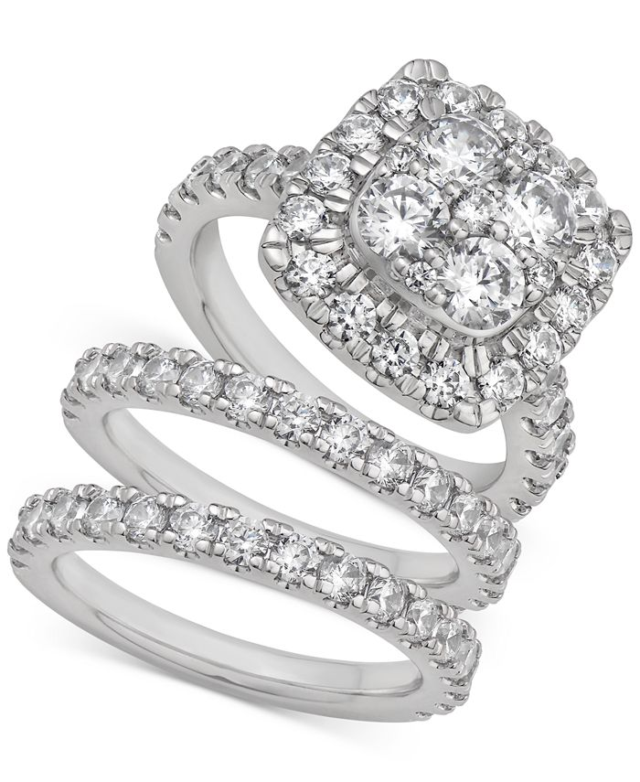 Macy's - Certified Diamond Halo 3-Pc. Bridal Set (4 ct. t.w.) in 14k White Gold