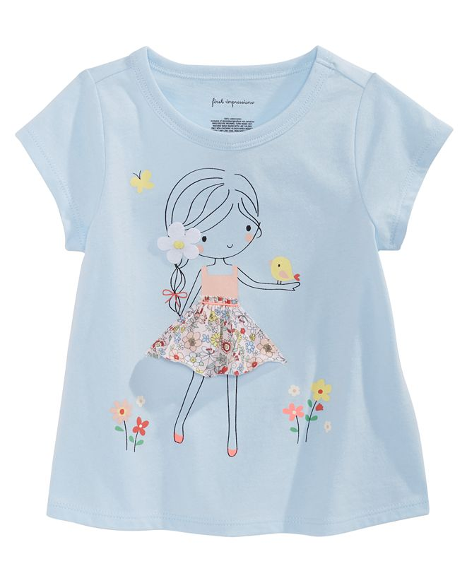 First Impressions Baby Girls Flower Girl-Print Cotton T-Shirt, Created for Macy's