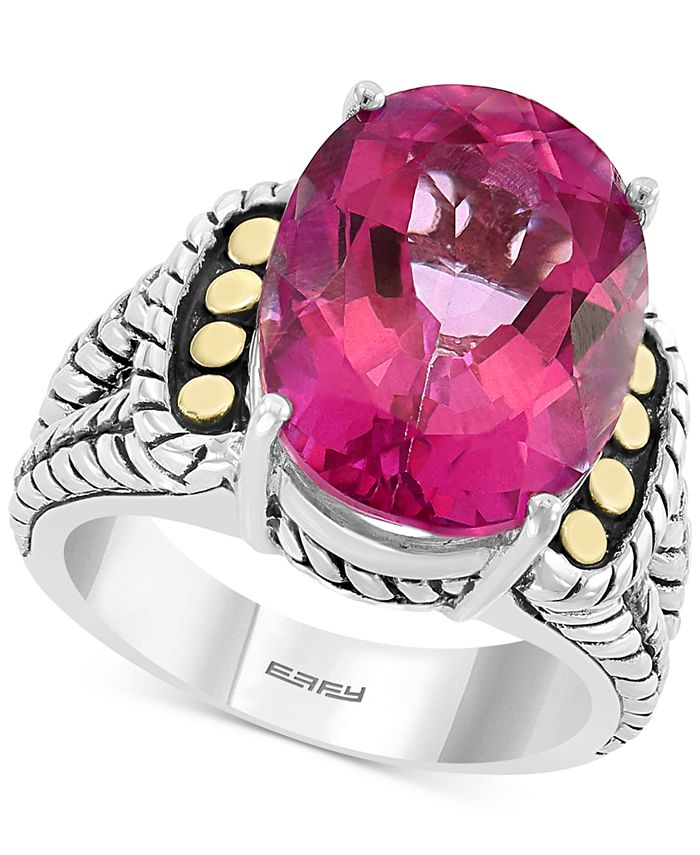 EFFY Collection - Pink Topaz Statement Ring (13-3/4 ct. t.w.) in Sterling Silver & 18k Gold
