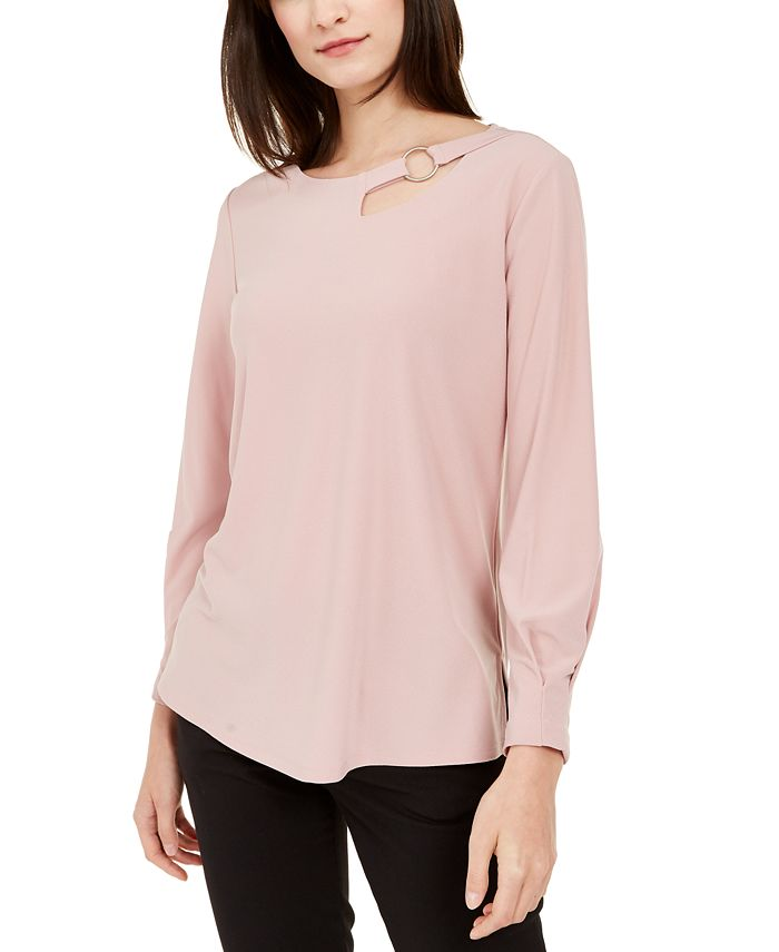 Alfani - Petite Cut-Out Blouse, Created For Macy's