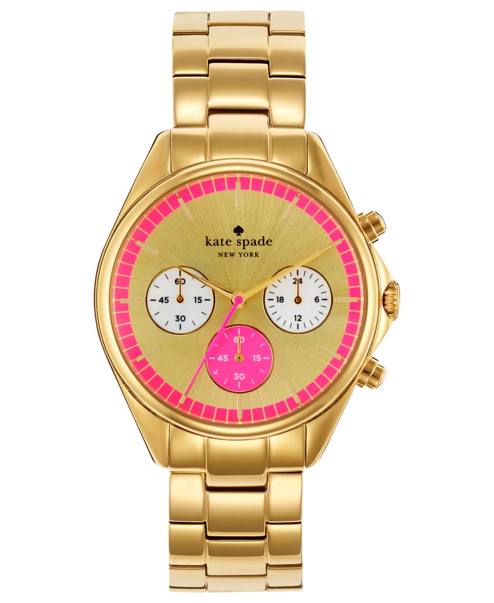 kate spade new york Watch, Womens Seaport Chronograph Gold Tone Stainless Steel Bracelet 38mm 1YRU0230   Watches   Jewelry & Watches