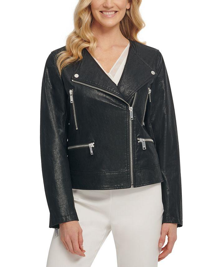 DKNY - Faux-Leather Moto Jacket