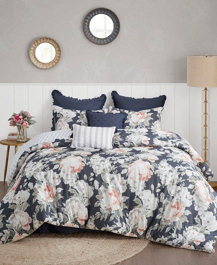 Madison Park - Mavis 8 Piece California King Cotton Printed Reversible Comforter Set