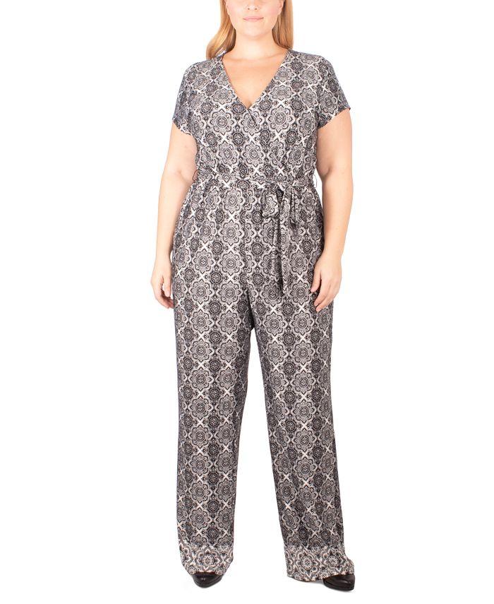 NY Collection - Plus Size Paisley-Print Tie-Belt Jumpsuit