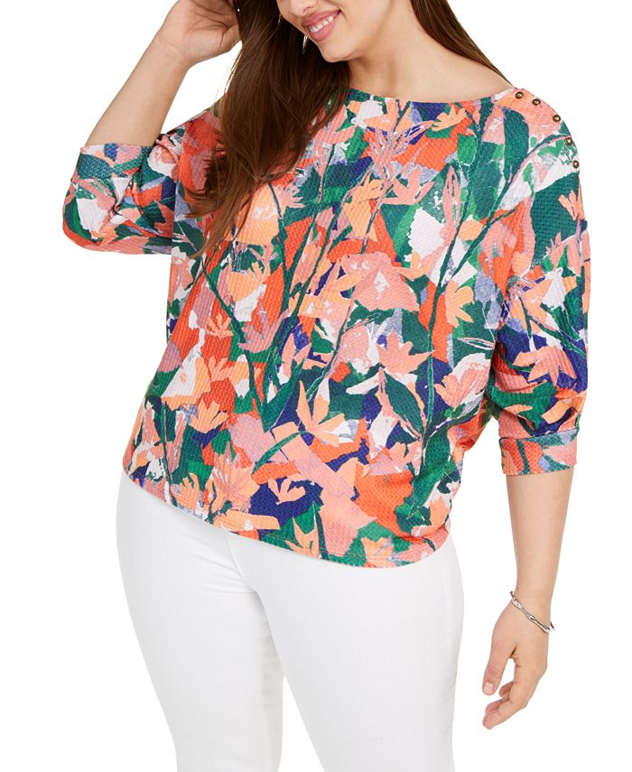 Belldini - Plus Size Printed Puff-Sleeve Top