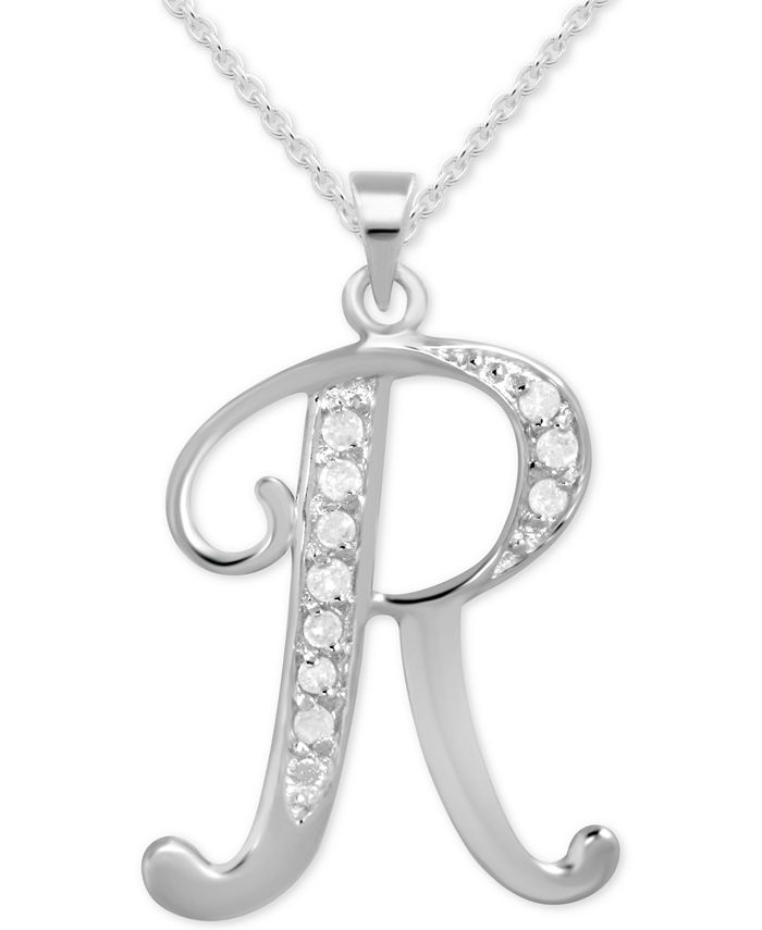 "Macy's - Diamond R Initial 18"" Pendant Necklace (1/10 ct. t.w.) in Sterling Silver"