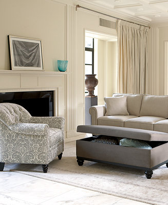 Martha Stewart Club Fabric Sofa Living Room Furniture Collection Furniture