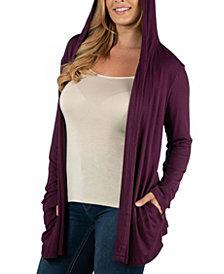 24Seven Comfort Apparel Long Sleeve Pocket Hoodie Plus Size Cardigan