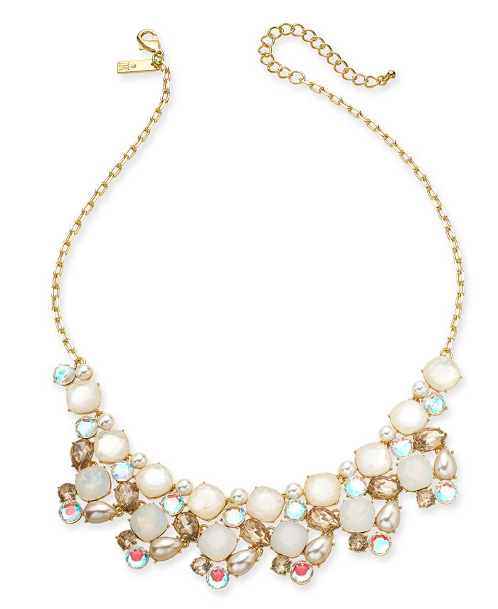 "INC International Concepts - Gold-Tone Stone & Glass Multi-Cluster Statement Necklace, 18"" + 3"" extender"