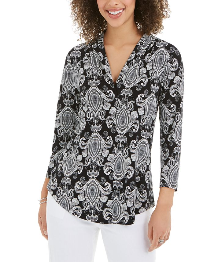 Charter Club - Printed V-Neck Top