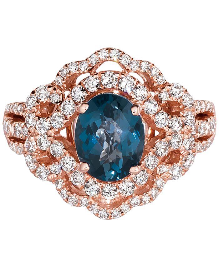 Le Vian - Deep Sea Blue Topaz (1-3/4 ct. t.w.) & Diamond (7/8 ct. t.w.) Ring in 14k Rose Gold