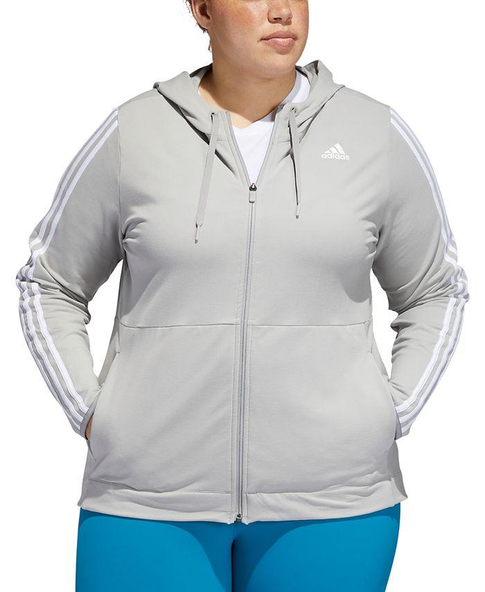 adidas - Plus Size Striped Zip Hoodie