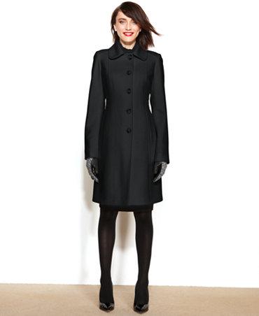 Anne Klein Petite Wool Cashmere Blend Club Collar Walker