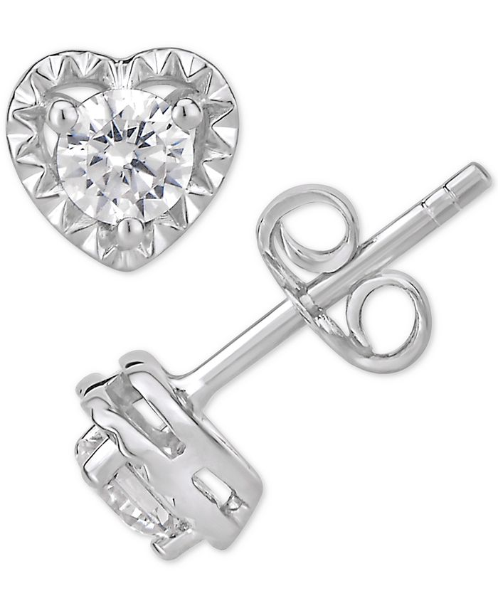 Macy's - Certified Diamond Heart Stud Earrings (1/2 ct. t.w.) in 14k White Gold (Also Available in Yellow or Rose Gold)