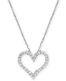 Diamond Heart Pendant Necklace (1/4 ct. t.w.) in 14k White Gold