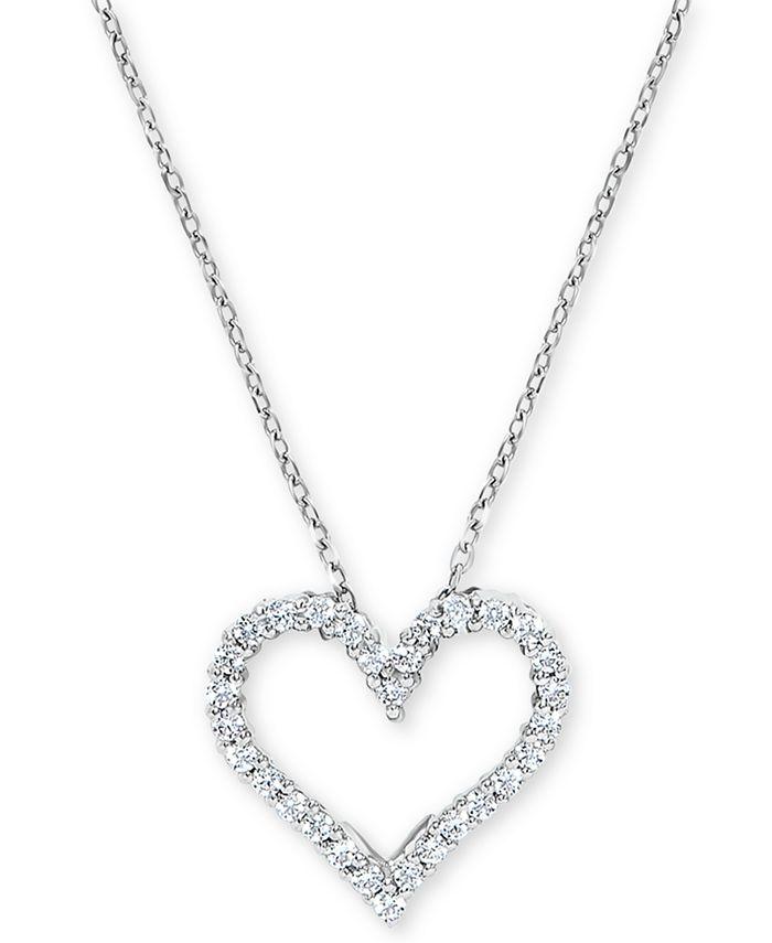 Macy's - Diamond Heart Pendant Necklace (1/4 ct. t.w.) in 14k White Gold