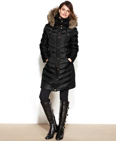 MICHAEL Michael Kors Hooded Faux-Fur-Trim Puffer Coat