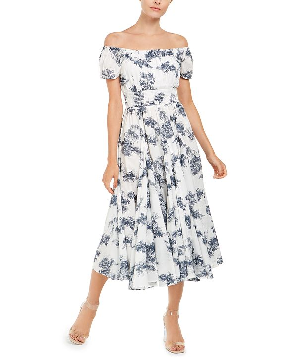 INC International Concepts INC Toile-Print Off-The-Shoulder Midi Dress, Created for Macy's