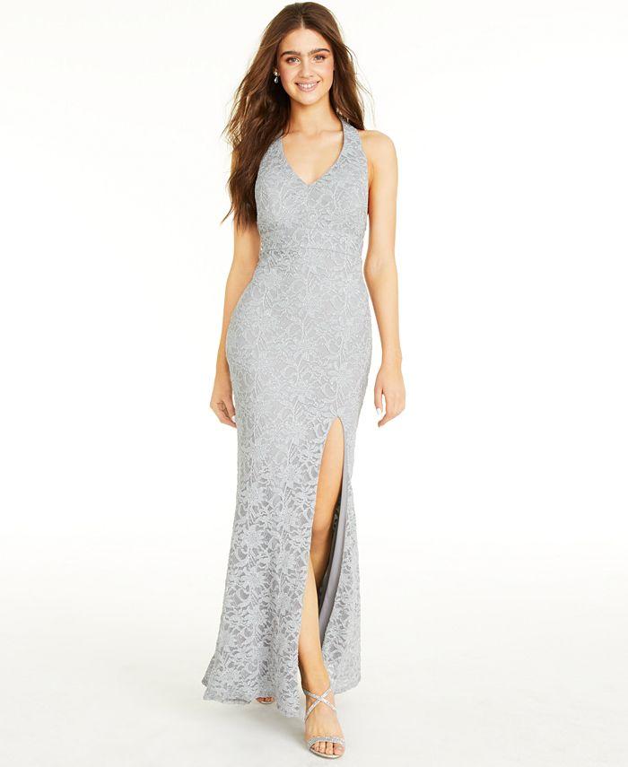 City Studios - Juniors' Glitter Lace Bow-Back Maxi Dress