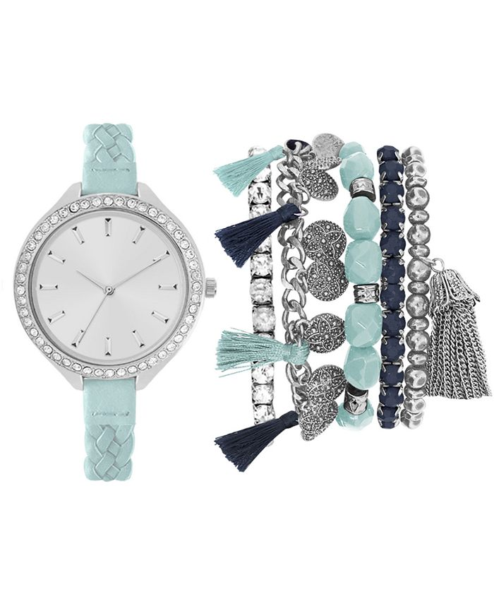 Jessica Carlyle - Women's Mint Braided Faux Leather Strap Watch 40mm Gift Set