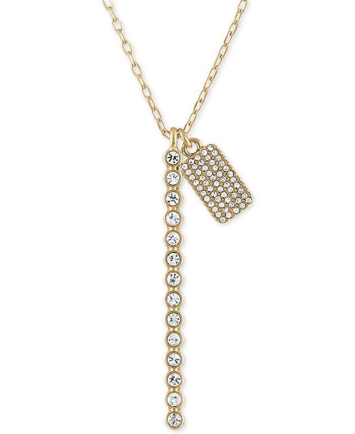 """RACHEL Rachel Roy - Gold-Tone Crystal Bar & Box Pendant Necklace, 24"""" + 2"""" extender"""