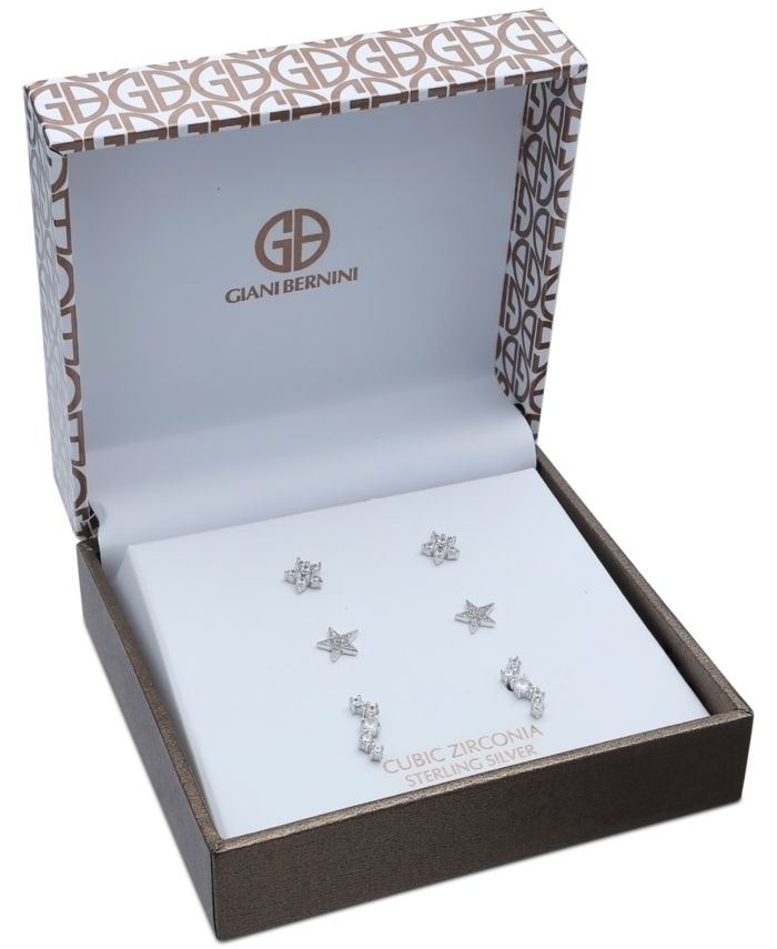 Giani Bernini 3-Pc. Set Cubic Zirconia Stud Earrings in Sterling Silver, Created for Macy's & Reviews - Jewelry & Watches - Macy's