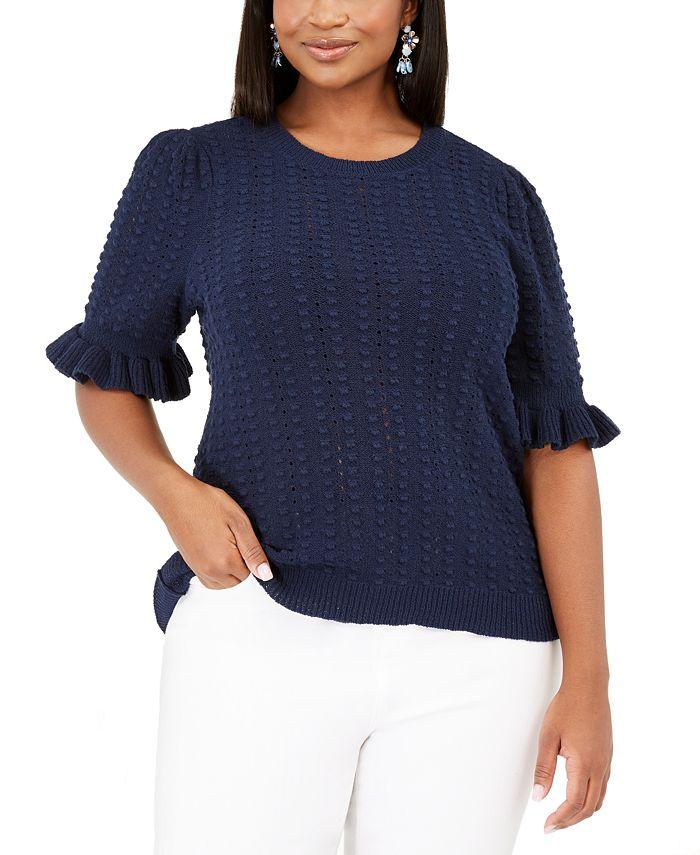 INC International Concepts - Plus Size Ruffle-Sleeve Pointelle Sweater