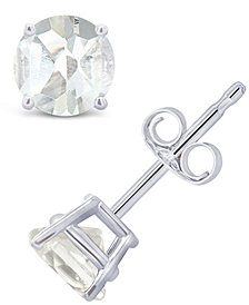 White Topaz (1-1/8 ct. t.w.) Stud Earrings in 14K White or Yellow Gold