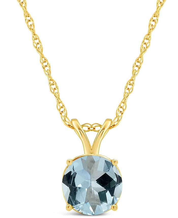 Macy's - Aquamarine (1-1/4 ct. t.w.) Pendant Necklace in 14K Yellow Gold