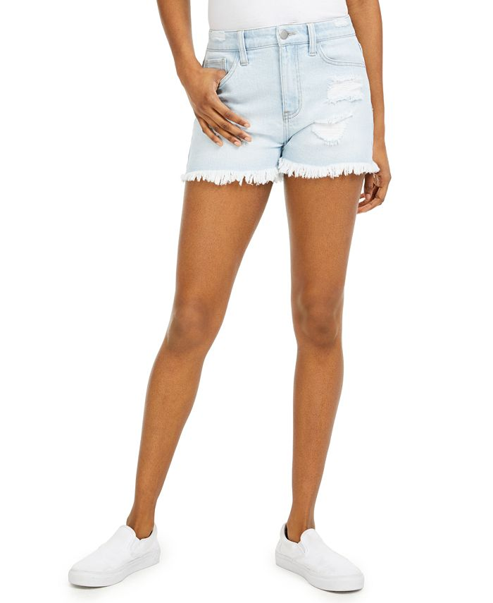 Tinseltown - Juniors' Frayed Denim Shorts