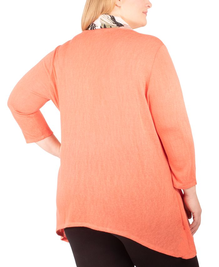 NY Collection - Plus Size Sweater, Scarf & Tank Set