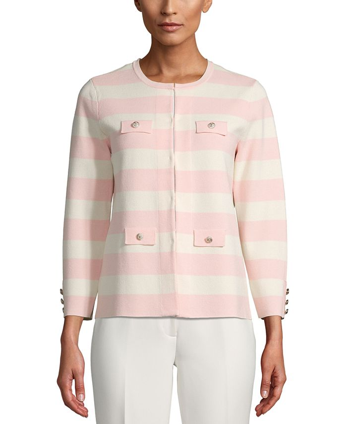 Anne Klein - Striped Open-Front Cardigan