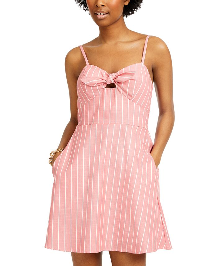 Speechless - Juniors' Tie-Front Fit & Flare Dress