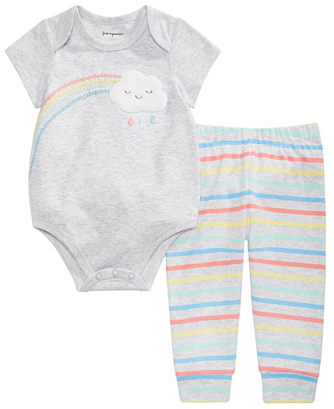 First Impressions Baby Boys or Girls Rainbow Bodysuit & Striped Jogger Pants Separates, Created for Macy's