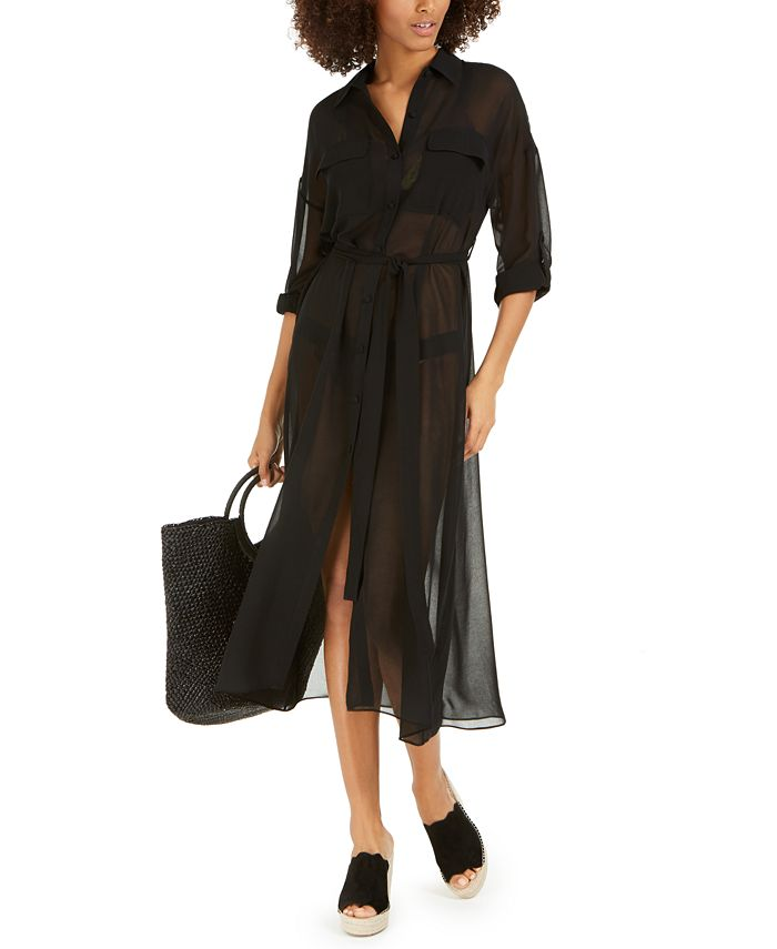 DKNY - Belted Chiffon Cover-Up Dress