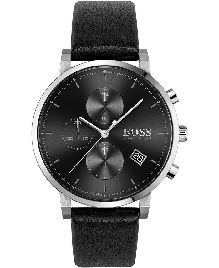 BOSS - Men's Chronograph Integrity Black Leather Strap Watch 43mm