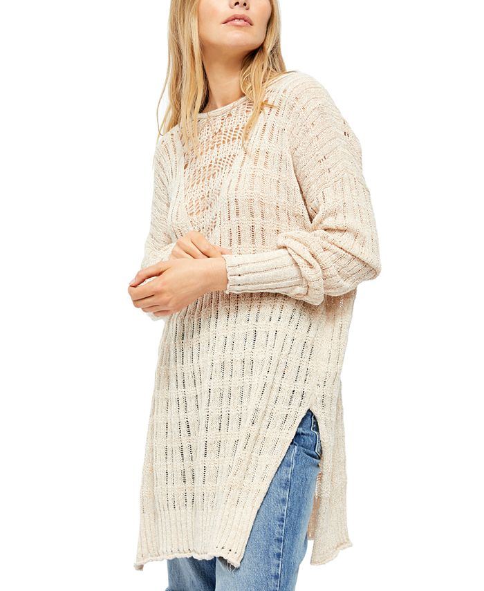 Free People - Pretty Pointelle Vee Cotton Sweater