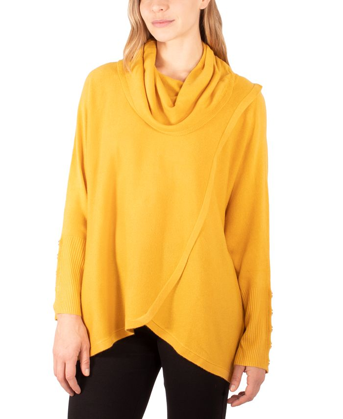 NY Collection - Faux-Wrap Cowl-Neck Sweater