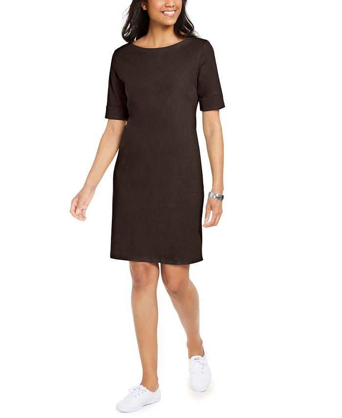 Karen Scott - Cotton Cuffed-Sleeve Dress